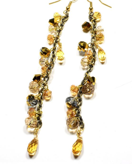 Gold Shoulder Duster Earrings Caterina Wills Jewellery