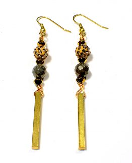 Gold Single Column Earrings Caterina Wills Jewellery