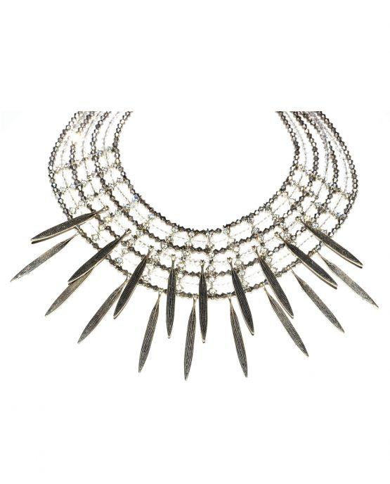 Metal Leaf Drop Statement Necklace