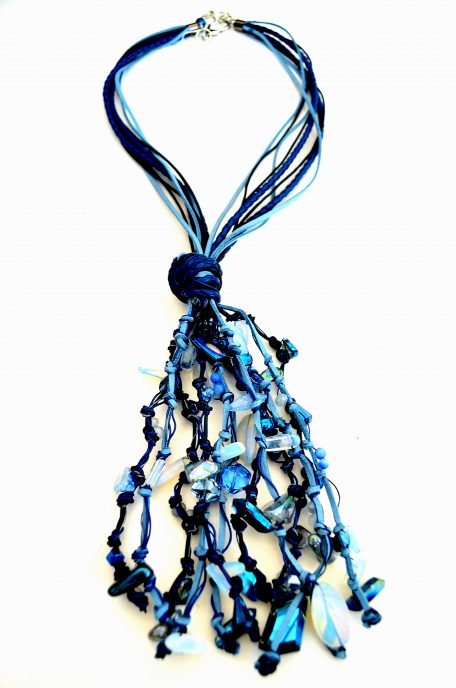 Blue Leather Drop Necklace